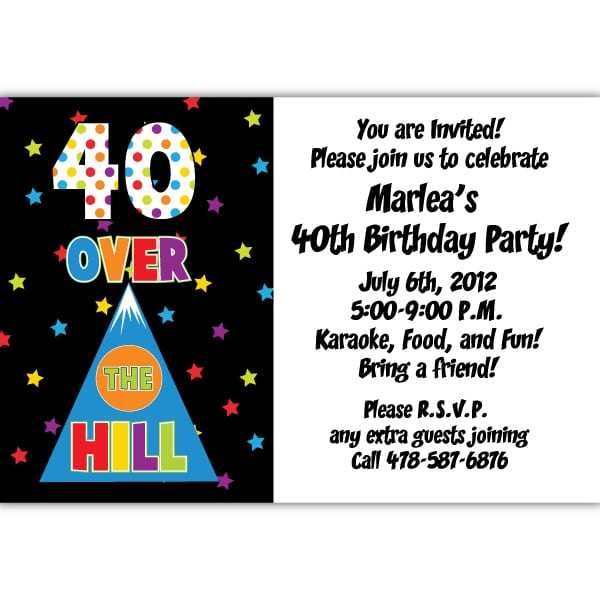 Tagfree 40th Birthday Party Invitations