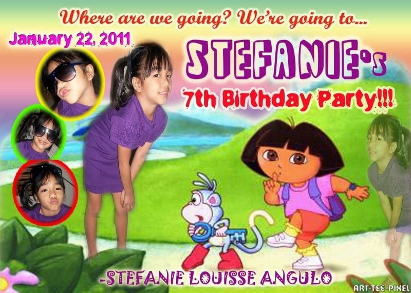 Tagfree Doras 7th Birthday Invitations