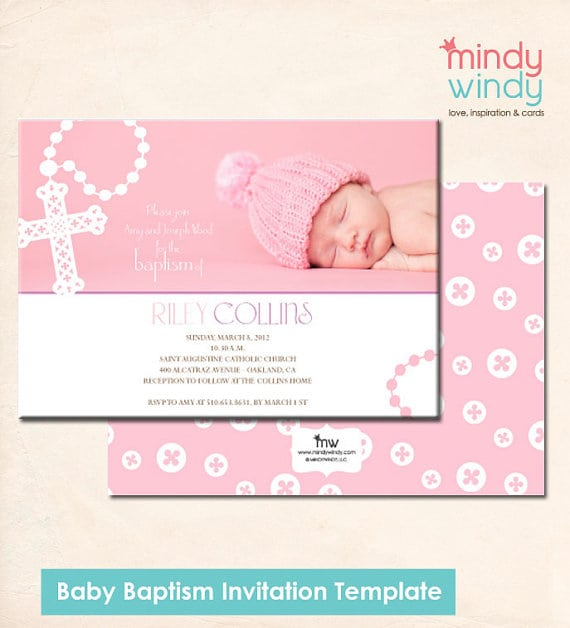 Tagfree Invitation Templates Baby Girl Christening