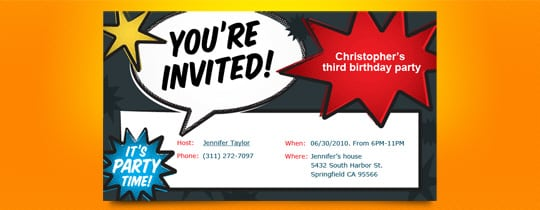 Tagfree Kids Invitation Birthday Party