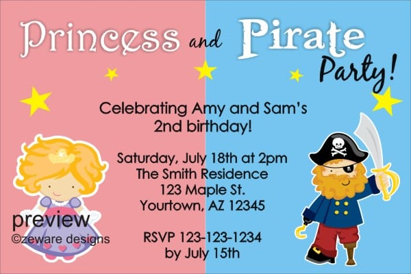 Tagfree Pirate Invitation Template