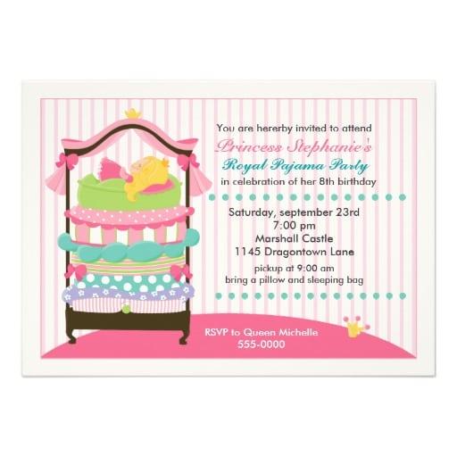 Tagfree Princess Sleepover Invitations
