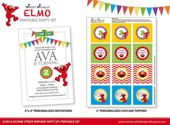Tagfree Printable Elmo Birthday Invitations Template