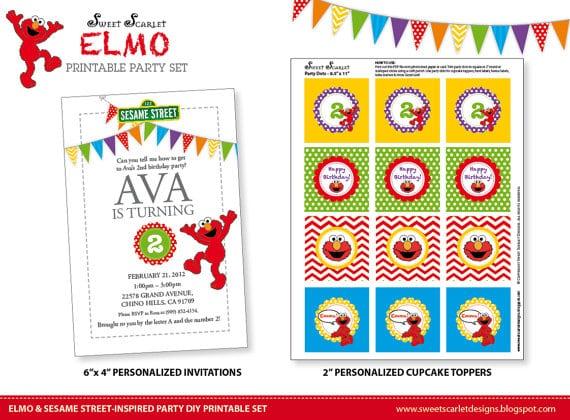 Tagfree Printable Elmo Birthday Invitations Template