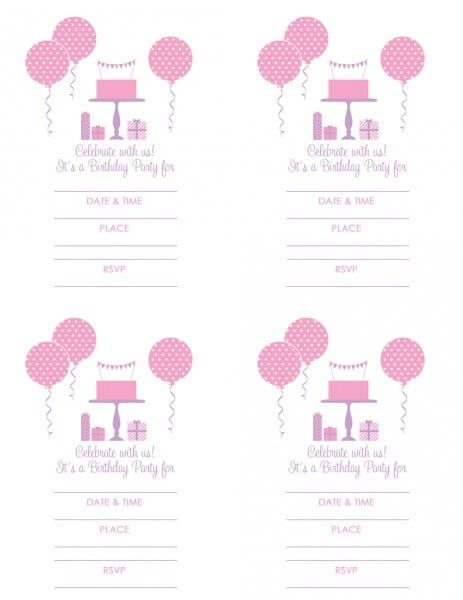 Tagfree Printable Girl Birthday Party Invitations
