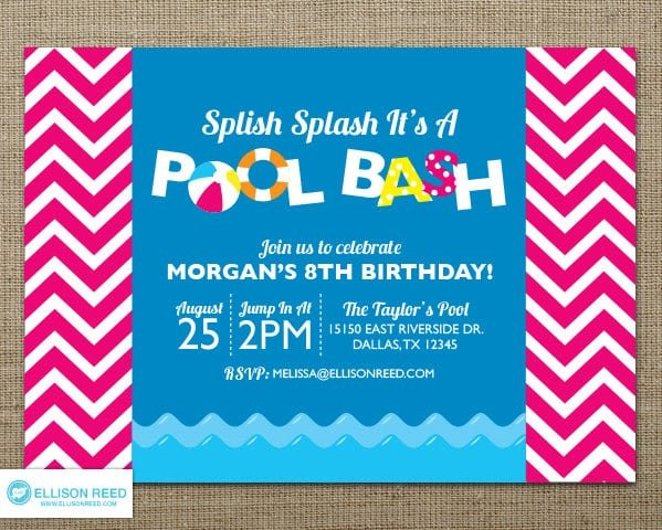 Tagfree Printables Pool Party Invitations For Kids