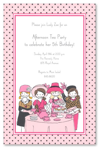 Tagfree Sample Invites For Kids Tea Party