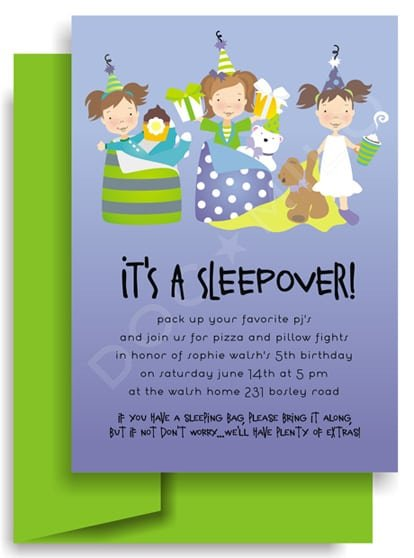 Tagfree Sleepover Birthday Invitation Templates