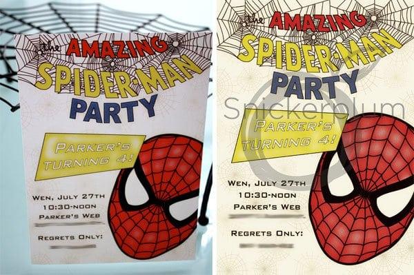 Tagfree Spiderman Invitation Printable