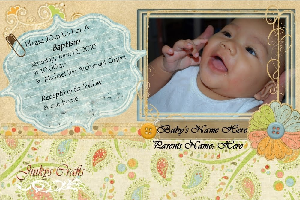 Tagfree Template For Baptismal Invitation