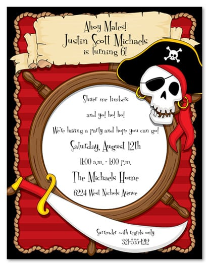 Tagfree Template Templates For Pirate Invites