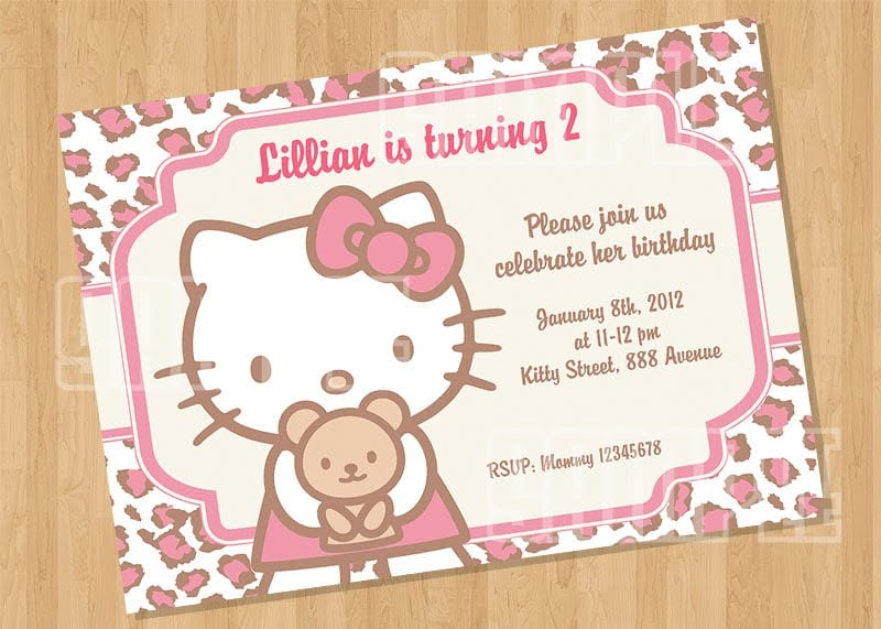 Taghello Kitty Invitations With Leopard