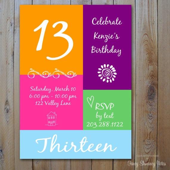 Taginvitation Ideas For 13th Birthday