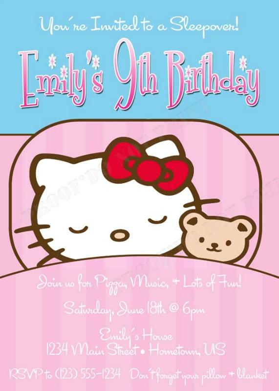 Taginvitations For Sleepovers Of Hello Kitty