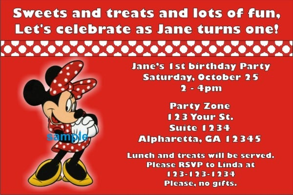 Tagminnie Mouse Birthday Party Invitations Templates