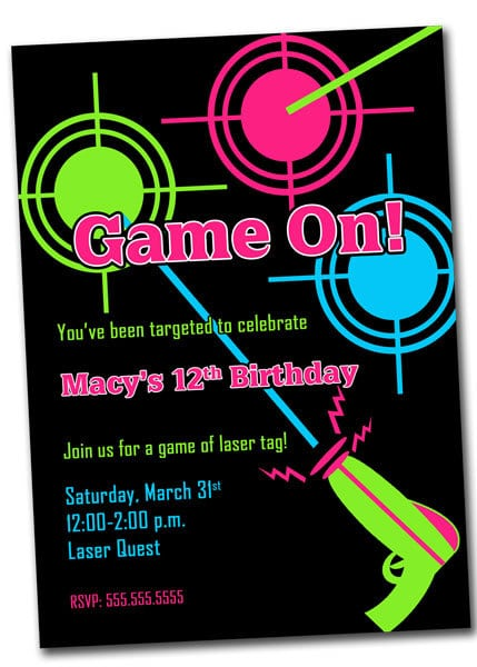 Tagparty Invitations For Girls Templates