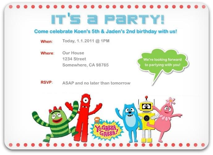 Tagsample Yo Gabba Gabba Invitations
