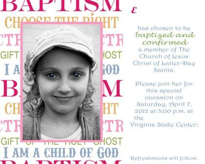 Teen Baptism Invitations