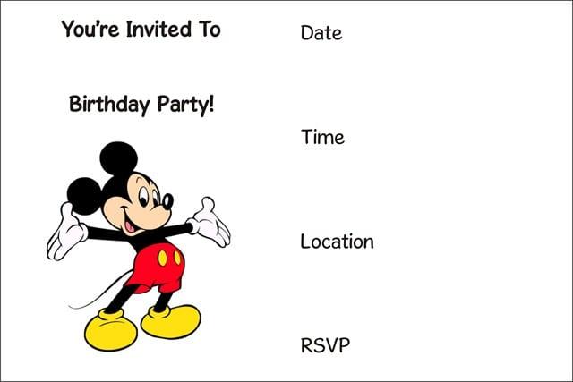 Teenagers Birthday Invitation Templates Mickey Mouse