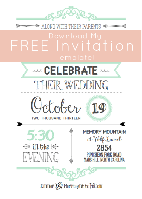 free template invitations, Wedding invitation
