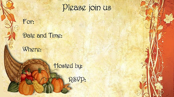 Thanksgiving Invitation Free Printable
