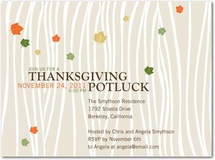 Thanksgiving Invitation Templates Potluck