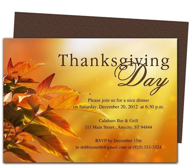 Thanksgiving Invitation Templates Word