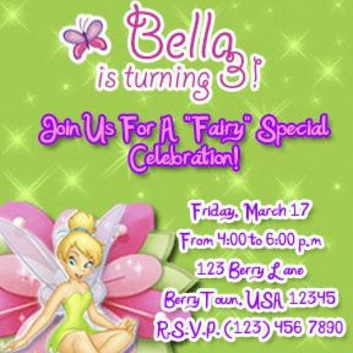 Tinkerbell Birthday Party Invitations Printable