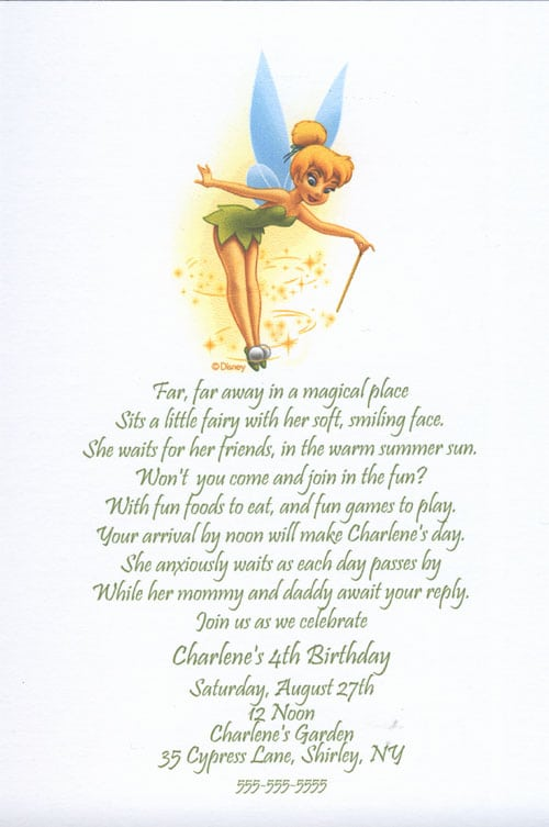 Tinkerbell Birthday Party Invitations Templates