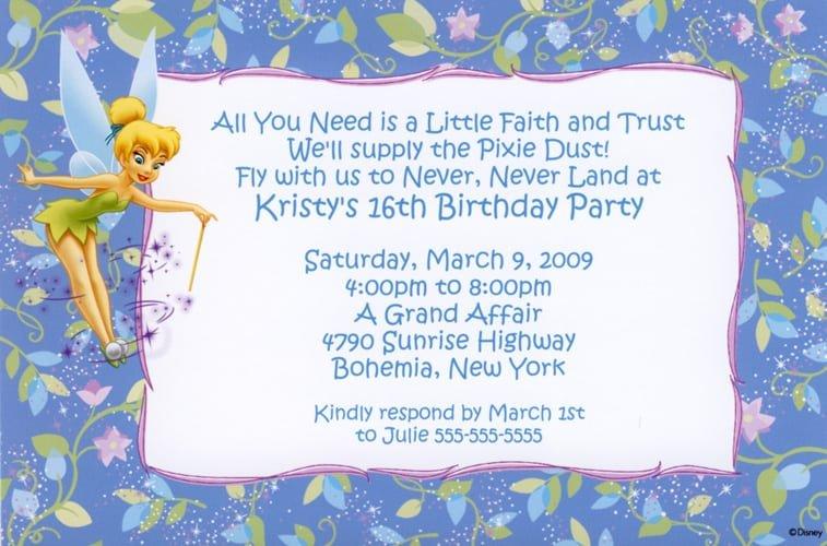 Tinkerbell Photo Invitations Birthday