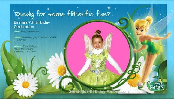 Tinkerbell Picture Invitation