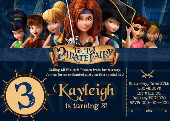 Tinkerbell Pirate Birthday Invitation