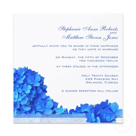Wedding Invitation Blue