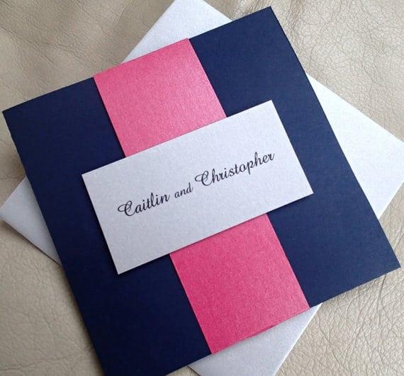 Wedding Invitation Blue And Pink