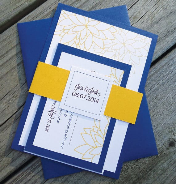 Wedding Invitation Blue And Yellow