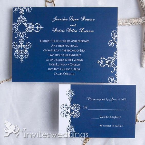 Wedding Invitation Blue Motif