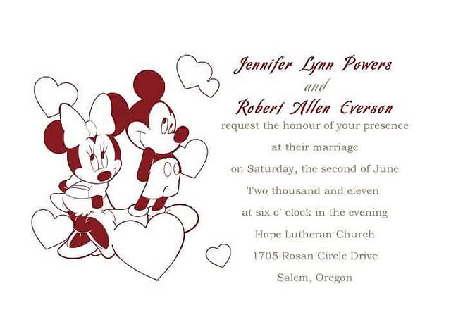 Wedding Invitation Mickey And Minnie Mouse