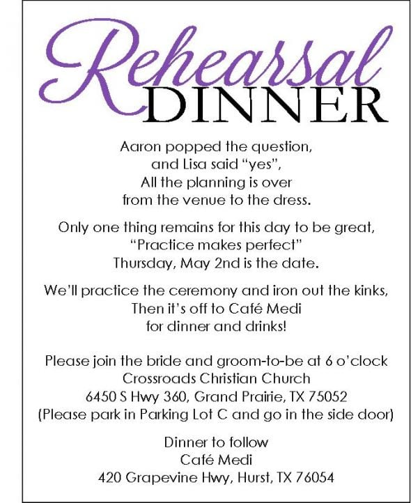 Wedding Rehearsal Dinner Invitation Template Free