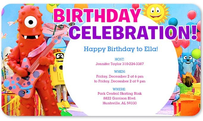 Yo Gabba Birthday Invitations