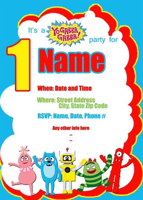 Yo Gabba Gabba Invites For 1st Birthdays