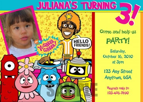 Yo Gabba Gabba Invites Personalized