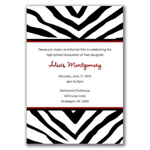 Zebra Graduation Invitations Templates