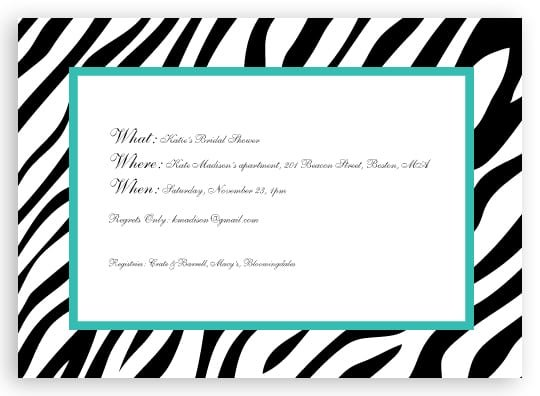 Zebra Invitation Templates