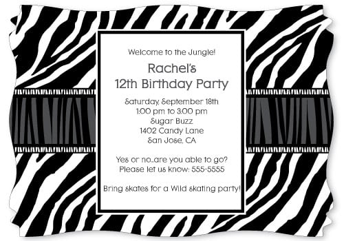 Zebra Print Birthday Invitations Free
