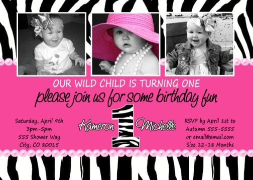 Zebra Print Invites For Birthday